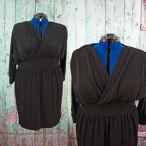 Moda International wrap blouson wide waist dress